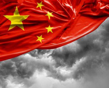 Chinese waving flag on a bad day