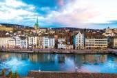Letecký pohled na starého města v Curychu, Švýcarsko