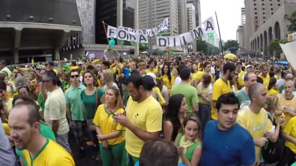 Protesters marching on Paulista Avenue in Sao Paulo