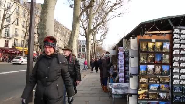 Beroemde Mensen In Parijs.Mensen Lopen Op De Beroemde Galerijen Vakken In Parijs Stockvideo
