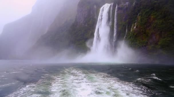 Milford Sound Fjord Waterfall in New Zealand