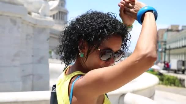 Cuban woman dancing in Havana, Cuba
