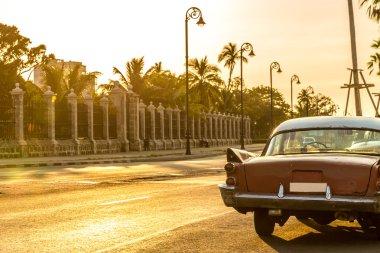 Old car in Malecon Avenue in Havana, Cuba