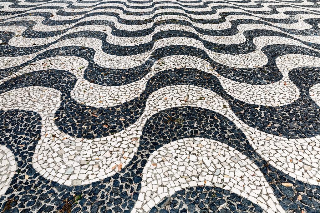 Фотообои Культовый тротуарная плитка, узор на пляже Копакабана в Рио-де-Жанейро, Бразилия