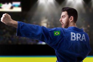 Brazilian judoka fighter in the stadium