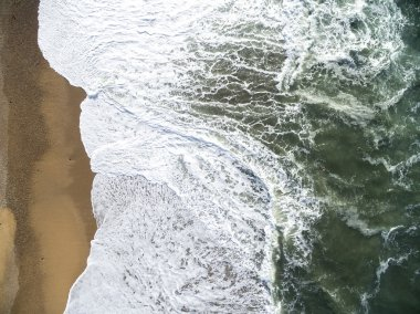 Top View of Waves in a Beach