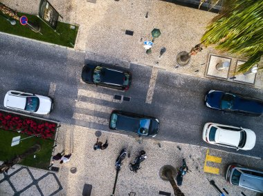 Top View of People Crossing a Street