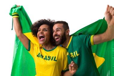 Brazilian couple of fans celebrating