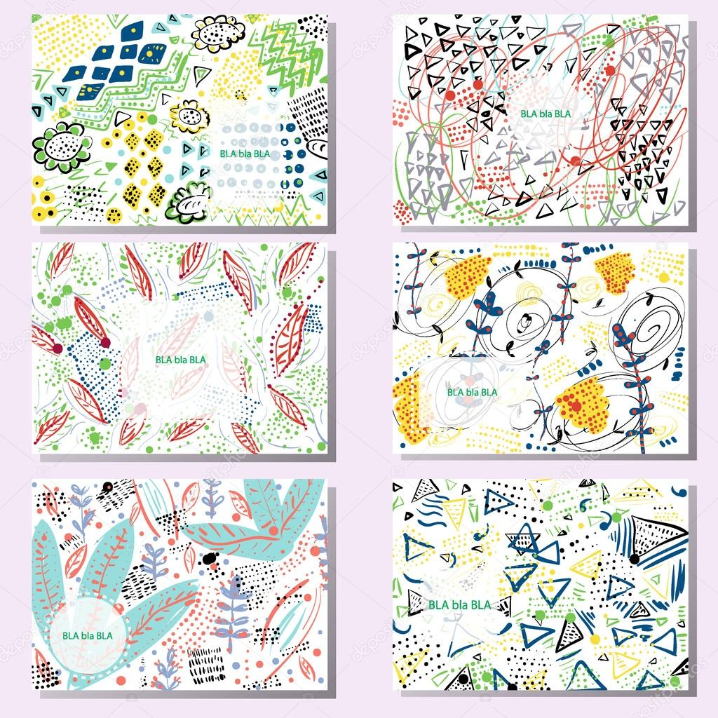 Set of 6 creative cards hand drawn doodle textures birthday set of 6 creative cards hand drawn doodle textures birthday wedding invitation business cards templates vector by sproot magicingreecefo Choice Image