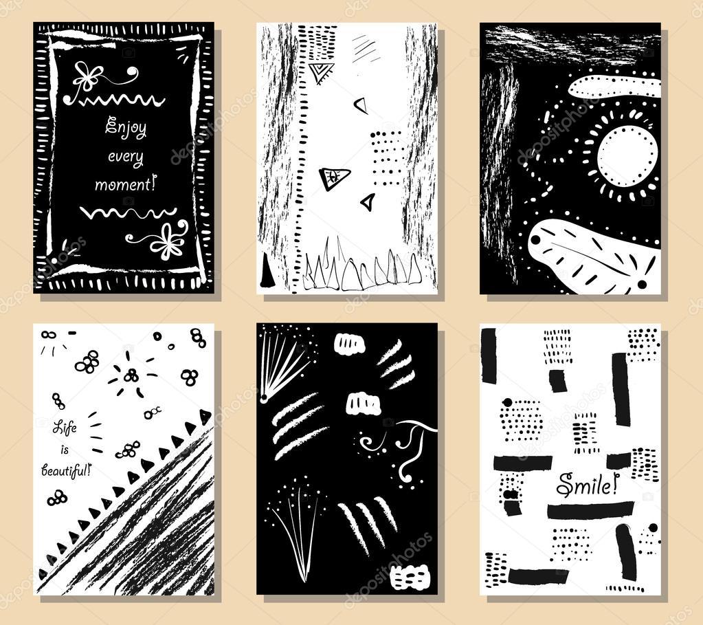 Kreative Künstlerische Karten Hand Gezeichnete Texturen