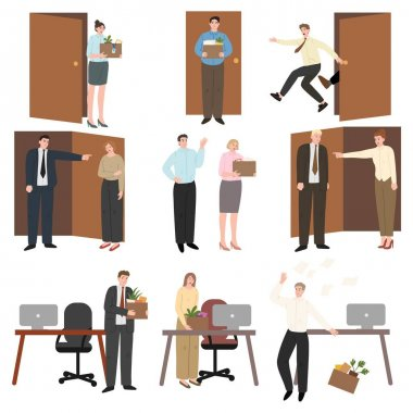 Set of isolated hand drawn stressed fired people feeling frustration and anger in office over white background vector illustration. Fired people concept icon
