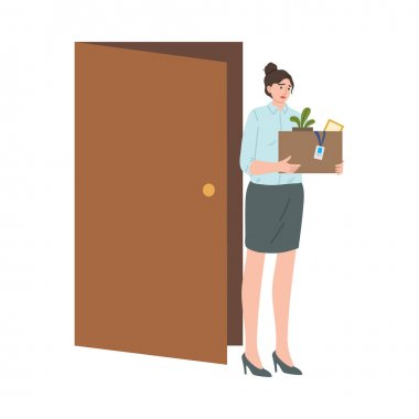 Hand drawn stressed frustrated fired woman office worker carrying box of belongings over white background vector illustration. Fired people concept icon