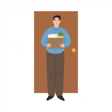 Hand drawn stressed frustrated fired man office worker standing holding box of work things over white background vector illustration. Fired people concept icon