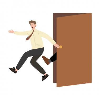 Hand drawn stressed frustrated fired man office worker getting kicked from boss over white background vector illustration. Fired people concept icon