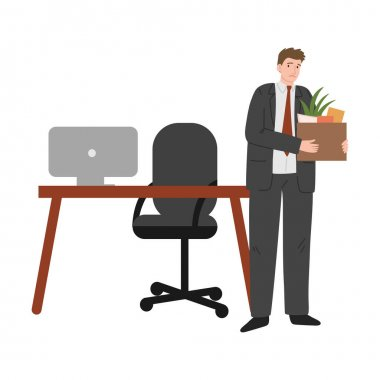 Hand drawn sad frustrated fired man office worker holding box of belongings from desk over white background vector illustration. Fired people concept icon