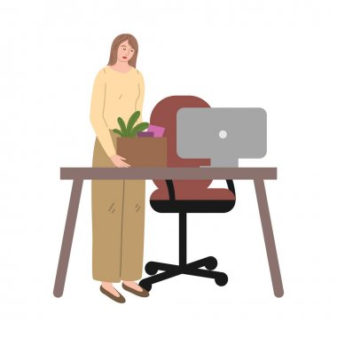 Hand drawn stressed frustrated fired woman office worker collecting things from desk over white background vector illustration. Fired people concept icon