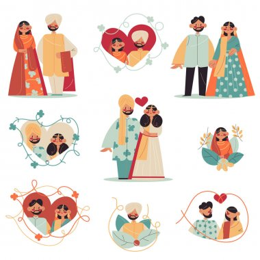 Set of hand drawn Indian groom and bride celebrating wedding ceremony in traditional colorful costumes over white background vector illustration. Indian wedding and marriage concept icon