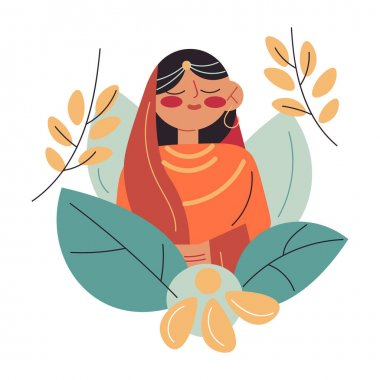 Portrait of happy young Indian wife in traditional dress and accessories at wedding ceremony over white background vector illustration. Indian wedding and marriage concept icon