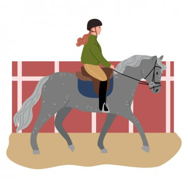 Hand drawn happy young girl in helmet sitting on grey horse back and riding on hippodrome over white background vector illustration, side view. People on horses concept icon