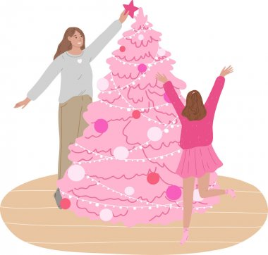 Hand drawn happy smiling mother and little daughter decorating Christmas tree at home together over white background vector illustration. Decoration of Christmas tree concept icon