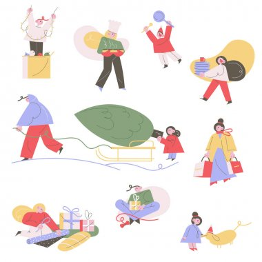 Set of hand drawn family members cooking, buying presents, decorating home, carrying Christmas tree for winter holidays celebration over white background vector illustration. Preparation for New Year icon