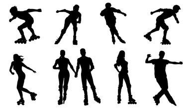 various rollerskating silhouettes