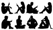 Sitzende Menschen nutzen Smartphone-Silhouetten