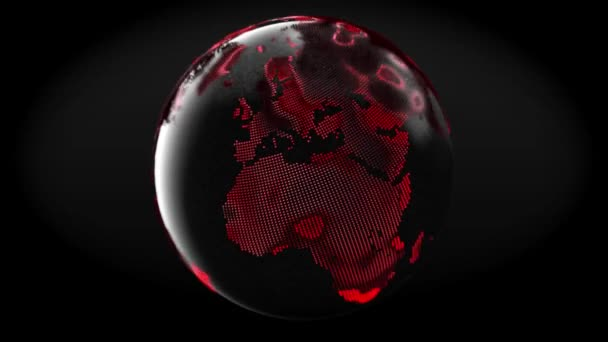 Globe of Earth. Rotation of glossy planet, 3D animation of space with digital exploding Earth, Abstract world map background for news intro. Loop