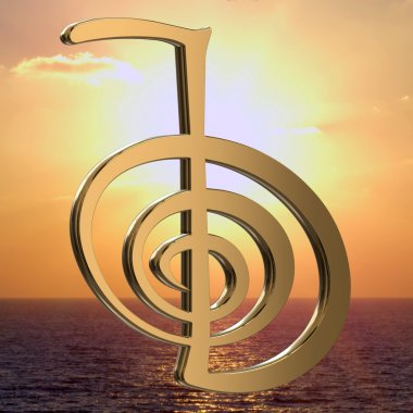 Reiki symbols for relaxation, and meditation on the sea and sun background
