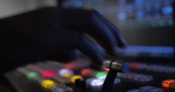 Hand Pulling The T-Bar On A Video Switcher