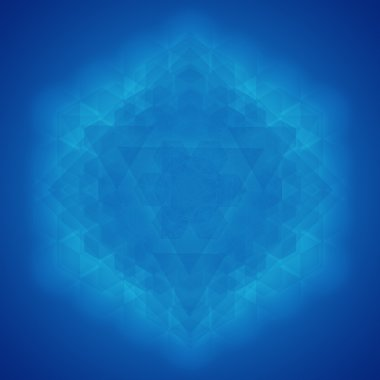 Sacred geometry symbol blue background