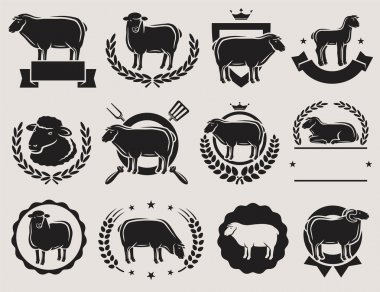 Sheep and lamb labels set