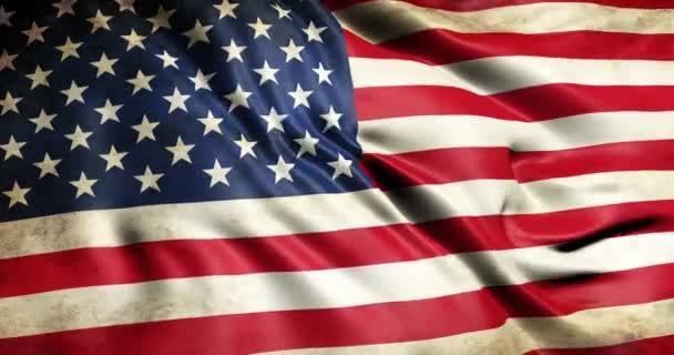 Piszkos zászló az Amerikai Egyesült Államok a háború integető 3D animáció. Zökkenőmentes hurkolás amerikai zászló animáció. Vintage amerikai zászló integetett 4k