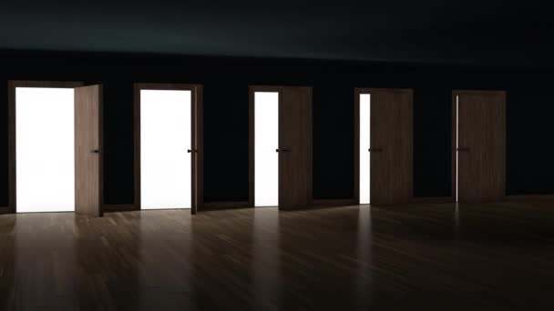 Doors opening one after another in a dark room with bright light. Choosing the right solution and a new opportunity concept. 3d animation 4k