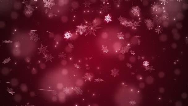 Červený krásný padající sněhové vločky