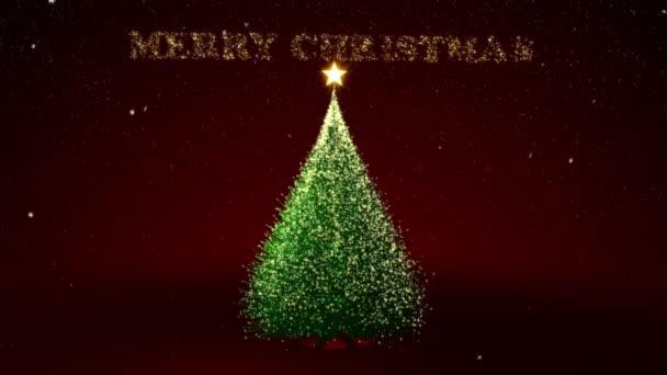 Vánoční strom se žlutými světly a vánoční text