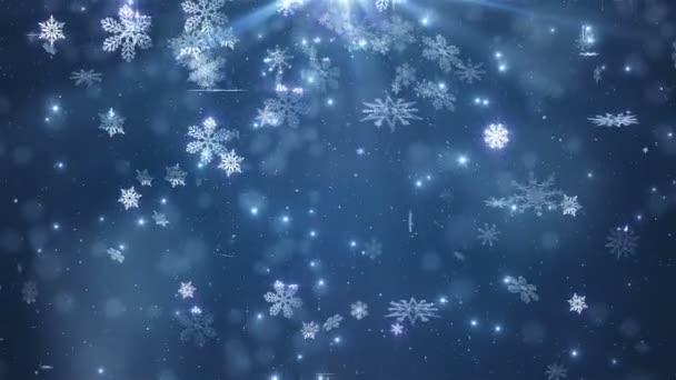 Kék szép hulló hópelyhek