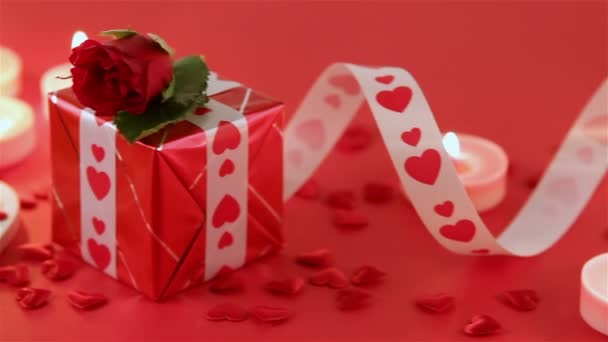 Red roses and heart shape on red background