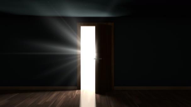 4 k světlo a částic v místnosti za dveřmi otevírací