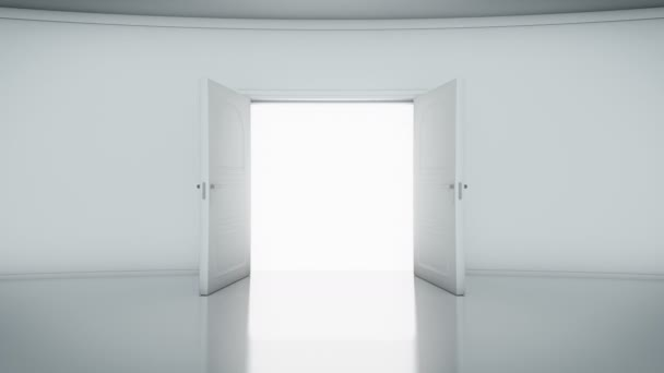 4K Door Opening with white background (alpha matte)
