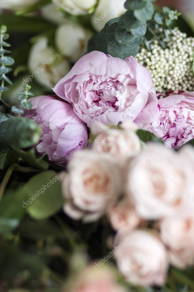 Beautiful flowers, peonies and roses