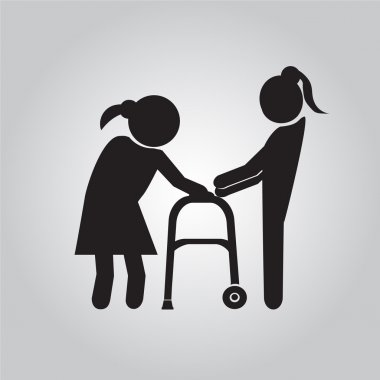 Woman helps elderly patient with a walker