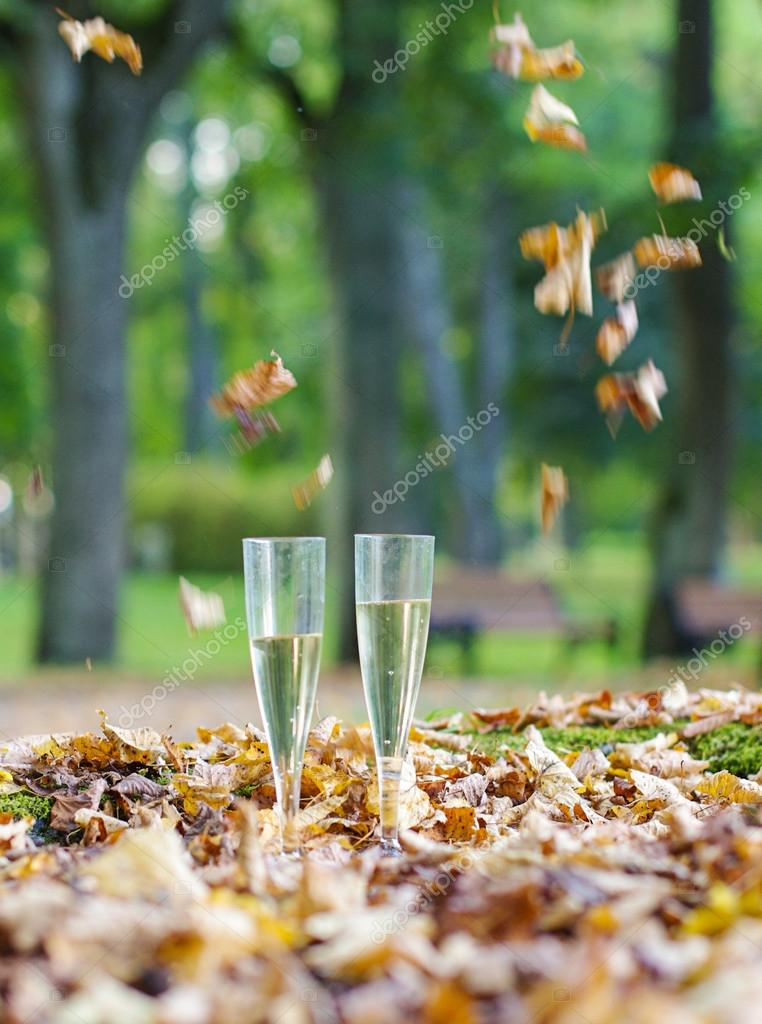 Two plastic champagne glass in the autumn park