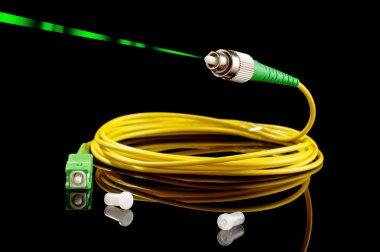 Fiber optics technology with green laser signal