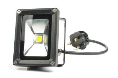 LED floodlight fixture with AC plug isolated on the white background