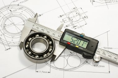 Bearing and caliper on the mechanical engineering drawing