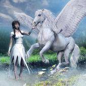 Fotografia Ragazza e un cavallo alato bianco