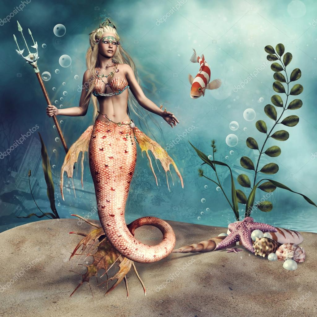 mermaid holding a trident Art Print by mermaidswithweapons   Society6