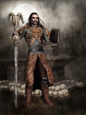Fantasy necromancer with a book