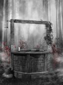Fotografie dunkler Wald mit Brunnen